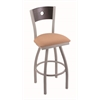 "830 Voltaire 36"" Bar Stool with Anodized Nickel Finish, Axis Summer Seat, Dark Cherry Oak Back, and 360 swivel"