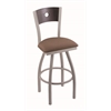 "830 Voltaire 30"" Bar Stool with Anodized Nickel Finish, Axis Willow Seat, Dark Cherry Oak Back, and 360 swivel"