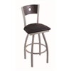 "830 Voltaire 30"" Bar Stool with Anodized Nickel Finish, Black Vinyl Seat, Dark Cherry Oak Back, and 360 swivel"