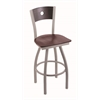 "830 Voltaire 30"" Bar Stool with Anodized Nickel Finish, Dark Cherry Oak Seat, Dark Cherry Oak Back, and 360 swivel"