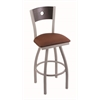 "830 Voltaire 36"" Bar Stool with Anodized Nickel Finish, Rein Adobe Seat, Dark Cherry Oak Back, and 360 swivel"