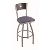 "830 Voltaire 36"" Bar Stool with Anodized Nickel Finish, Rein Bay Seat, Dark Cherry Oak Back, and 360 swivel"