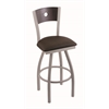 "830 Voltaire 25"" Counter Stool with Anodized Nickel Finish, Rein Coffee Seat, Dark Cherry Oak Back, and 360 swivel"