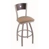 "830 Voltaire 36"" Bar Stool with Anodized Nickel Finish, Rein Thatch Seat, Dark Cherry Oak Back, and 360 swivel"