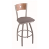 "830 Voltaire 30"" Bar Stool with Anodized Nickel Finish, Allante Medium Grey Seat, Medium Maple Back, and 360 swivel"