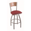 "830 Voltaire 25"" Counter Stool with Anodized Nickel Finish, Allante Wine Seat, Medium Maple Back, and 360 swivel"
