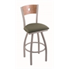 "830 Voltaire 30"" Bar Stool with Anodized Nickel Finish, Axis Grove Seat, Medium Maple Back, and 360 swivel"