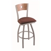 "830 Voltaire 36"" Bar Stool with Anodized Nickel Finish, Axis Paprika Seat, Medium Maple Back, and 360 swivel"