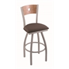 "830 Voltaire 36"" Bar Stool with Anodized Nickel Finish, Axis Truffle Seat, Medium Maple Back, and 360 swivel"
