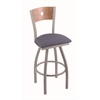 "830 Voltaire 30"" Bar Stool with Anodized Nickel Finish, Rein Bay Seat, Medium Maple Back, and 360 swivel"