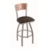 "830 Voltaire 30"" Bar Stool with Anodized Nickel Finish, Rein Coffee Seat, Medium Maple Back, and 360 swivel"