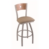 "830 Voltaire 25"" Counter Stool with Anodized Nickel Finish, Rein Thatch Seat, Medium Maple Back, and 360 swivel"