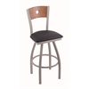 "830 Voltaire 30"" Bar Stool with Anodized Nickel Finish, Allante Dark Blue Seat, Medium Oak Back, and 360 swivel"