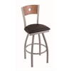 "830 Voltaire 30"" Bar Stool with Anodized Nickel Finish, Allante Espresso Seat, Medium Oak Back, and 360 swivel"