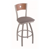 "830 Voltaire 36"" Bar Stool with Anodized Nickel Finish, Allante Medium Grey Seat, Medium Oak Back, and 360 swivel"