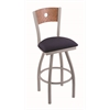 "830 Voltaire 36"" Bar Stool with Anodized Nickel Finish, Axis Denim Seat, Medium Oak Back, and 360 swivel"