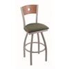 "830 Voltaire 25"" Counter Stool with Anodized Nickel Finish, Axis Grove Seat, Medium Oak Back, and 360 swivel"