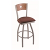 "830 Voltaire 36"" Bar Stool with Anodized Nickel Finish, Axis Paprika Seat, Medium Oak Back, and 360 swivel"