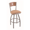 "830 Voltaire 36"" Bar Stool with Anodized Nickel Finish, Axis Summer Seat, Medium Oak Back, and 360 swivel"