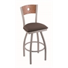 "830 Voltaire 36"" Bar Stool with Anodized Nickel Finish, Axis Truffle Seat, Medium Oak Back, and 360 swivel"