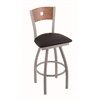 "830 Voltaire 25"" Counter Stool with Anodized Nickel Finish, Black Vinyl Seat, Medium Oak Back, and 360 swivel"