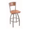 "830 Voltaire 30"" Bar Stool with Anodized Nickel Finish, Medium Oak Seat, Medium Oak Back, and 360 swivel"