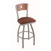"830 Voltaire 36"" Bar Stool with Anodized Nickel Finish, Rein Adobe Seat, Medium Oak Back, and 360 swivel"