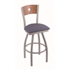 "830 Voltaire 25"" Counter Stool with Anodized Nickel Finish, Rein Bay Seat, Medium Oak Back, and 360 swivel"