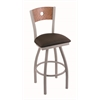 "830 Voltaire 30"" Bar Stool with Anodized Nickel Finish, Rein Coffee Seat, Medium Oak Back, and 360 swivel"