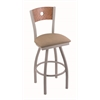 "830 Voltaire 30"" Bar Stool with Anodized Nickel Finish, Rein Thatch Seat, Medium Oak Back, and 360 swivel"