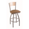 "830 Voltaire 30"" Bar Stool with Anodized Nickel Finish, Allante Beechwood Seat, Natural Maple Back, and 360 swivel"