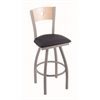 "830 Voltaire 36"" Bar Stool with Anodized Nickel Finish, Allante Dark Blue Seat, Natural Maple Back, and 360 swivel"