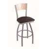 "830 Voltaire 30"" Bar Stool with Anodized Nickel Finish, Allante Espresso Seat, Natural Maple Back, and 360 swivel"