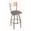 "830 Voltaire 36"" Bar Stool with Anodized Nickel Finish, Allante Medium Grey Seat, Natural Maple Back, and 360 swivel"