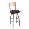 "830 Voltaire 36"" Bar Stool with Anodized Nickel Finish, Axis Denim Seat, Natural Maple Back, and 360 swivel"
