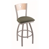 "830 Voltaire 36"" Bar Stool with Anodized Nickel Finish, Axis Grove Seat, Natural Maple Back, and 360 swivel"