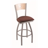 "830 Voltaire 36"" Bar Stool with Anodized Nickel Finish, Axis Paprika Seat, Natural Maple Back, and 360 swivel"
