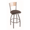 "830 Voltaire 36"" Bar Stool with Anodized Nickel Finish, Axis Truffle Seat, Natural Maple Back, and 360 swivel"