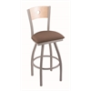 "830 Voltaire 30"" Bar Stool with Anodized Nickel Finish, Axis Willow Seat, Natural Maple Back, and 360 swivel"