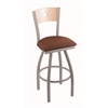 "830 Voltaire 30"" Bar Stool with Anodized Nickel Finish, Rein Adobe Seat, Natural Maple Back, and 360 swivel"