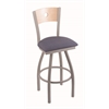 "830 Voltaire 36"" Bar Stool with Anodized Nickel Finish, Rein Bay Seat, Natural Maple Back, and 360 swivel"