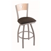 "830 Voltaire 30"" Bar Stool with Anodized Nickel Finish, Rein Coffee Seat, Natural Maple Back, and 360 swivel"