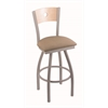 "830 Voltaire 30"" Bar Stool with Anodized Nickel Finish, Rein Thatch Seat, Natural Maple Back, and 360 swivel"