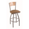 "830 Voltaire 36"" Bar Stool with Anodized Nickel Finish, Allante Beechwood Seat, Natural Oak Back, and 360 swivel"
