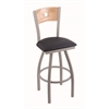 "830 Voltaire 30"" Bar Stool with Anodized Nickel Finish, Allante Dark Blue Seat, Natural Oak Back, and 360 swivel"