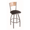 "830 Voltaire 36"" Bar Stool with Anodized Nickel Finish, Allante Espresso Seat, Natural Oak Back, and 360 swivel"