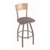"830 Voltaire 30"" Bar Stool with Anodized Nickel Finish, Allante Medium Grey Seat, Natural Oak Back, and 360 swivel"