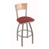 "830 Voltaire 36"" Bar Stool with Anodized Nickel Finish, Allante Wine Seat, Natural Oak Back, and 360 swivel"