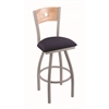 "830 Voltaire 36"" Bar Stool with Anodized Nickel Finish, Axis Denim Seat, Natural Oak Back, and 360 swivel"