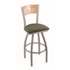"830 Voltaire 30"" Bar Stool with Anodized Nickel Finish, Axis Grove Seat, Natural Oak Back, and 360 swivel"
